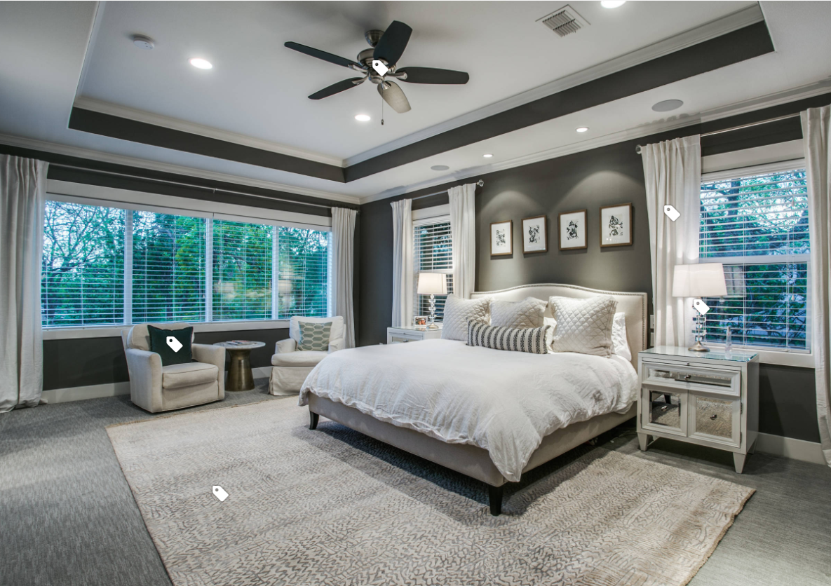 Gray contemporary master bedroom with ceiling fan and tray ...