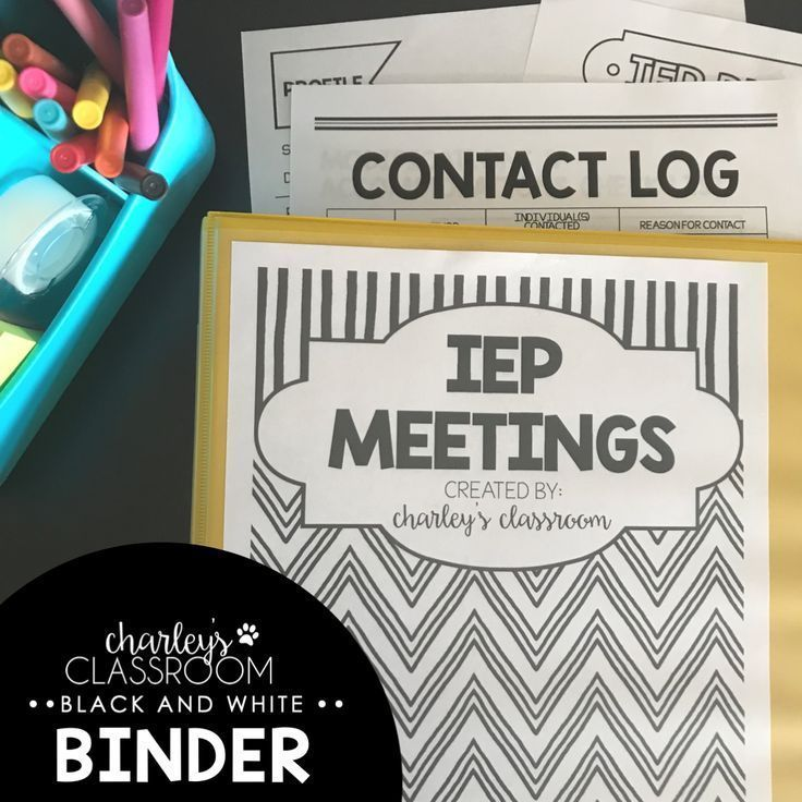 Editable IEP Meetings For The Year (Black & White