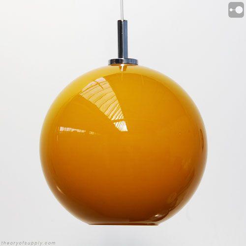 Retro Orange Glass Lamp Shade, 1960s.