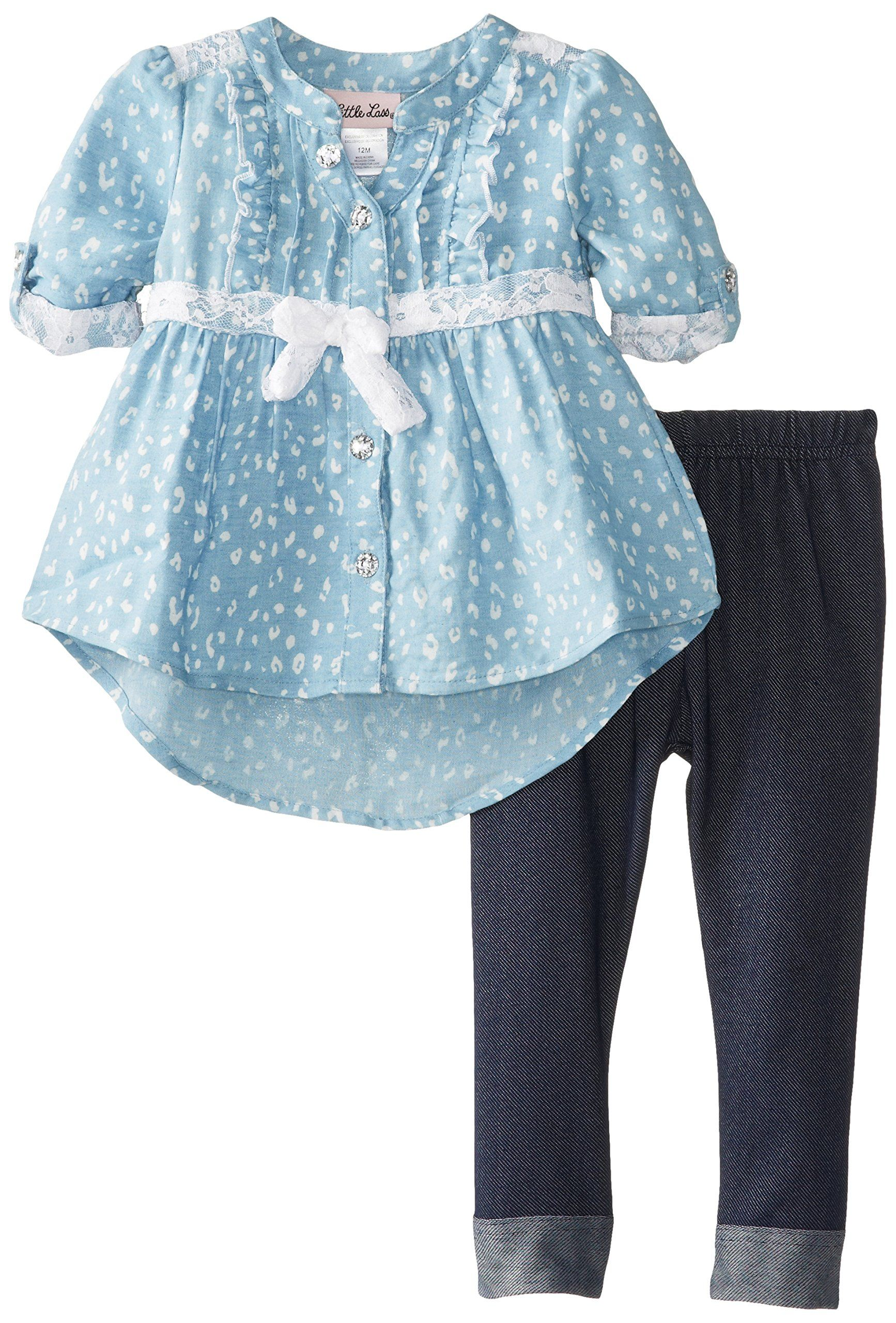 8ad4e215c Little Lass Baby Girls' 2 Piece Printed Chambray Legging Set, Chambray, 18  Months
