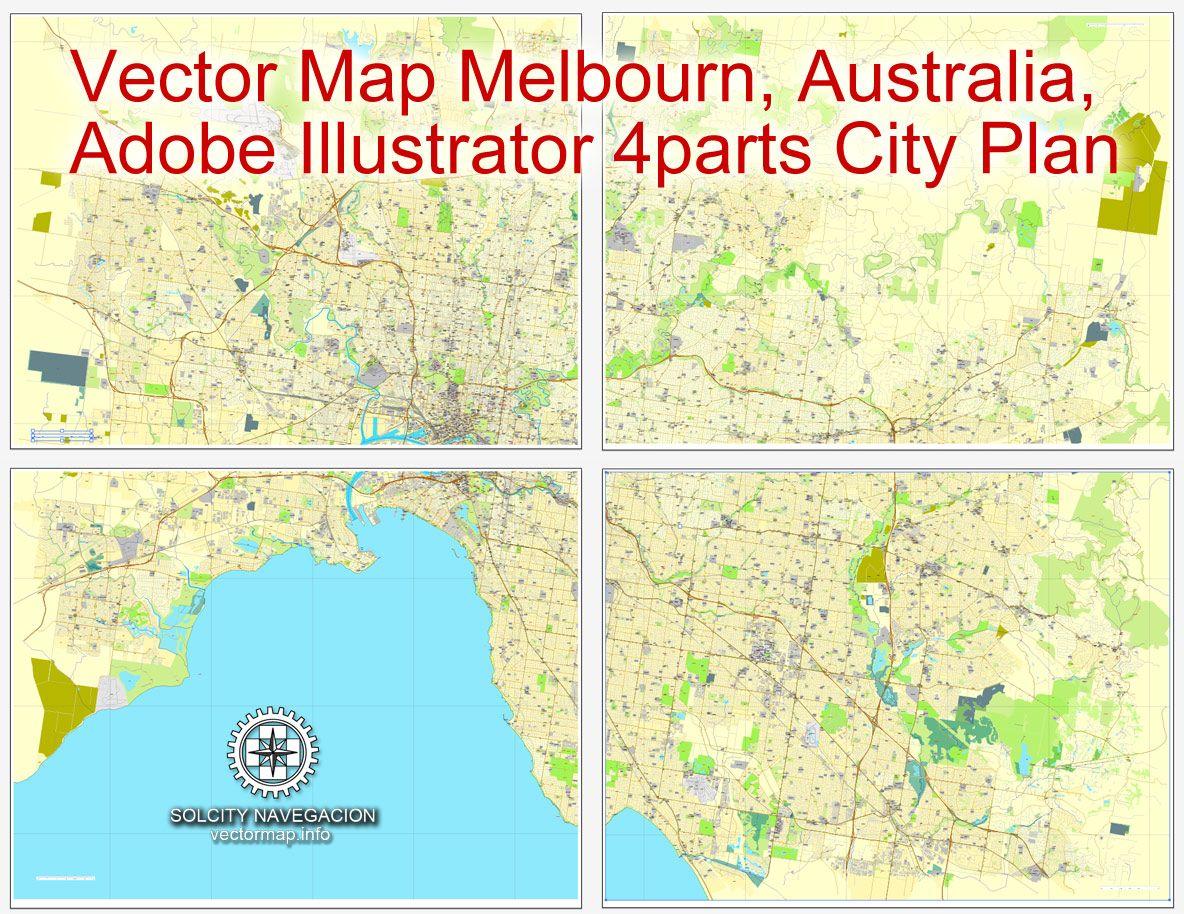 pdf map melbourne australia printable vector street 4 parts city plan map full