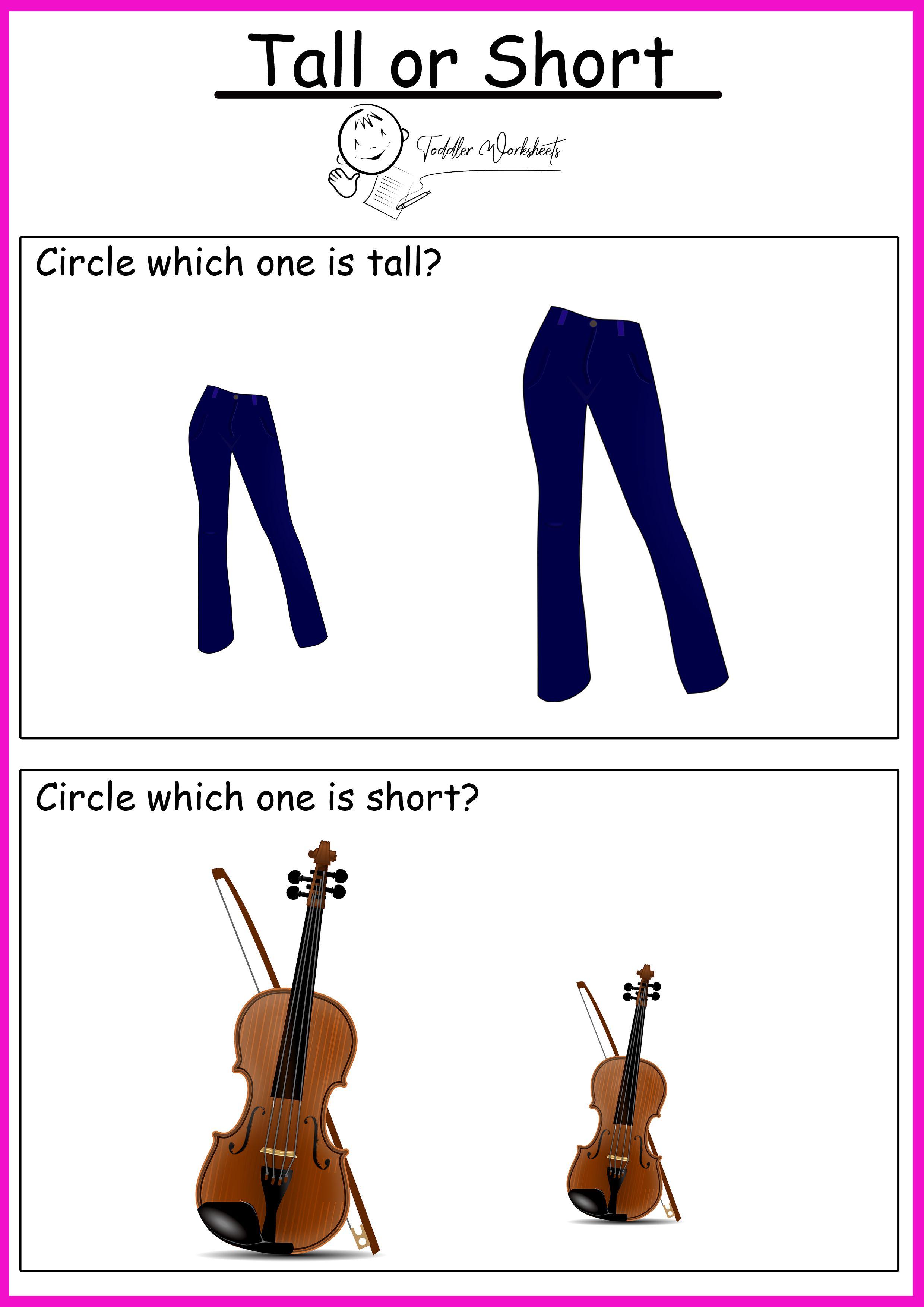 Free Preschool Sizes Worksheets
