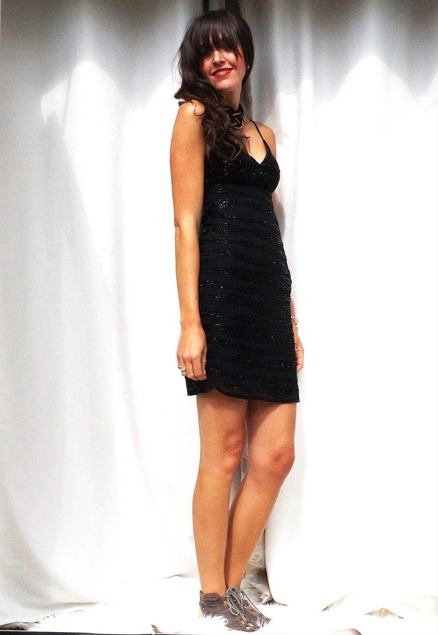 S sequin dress vintage black sequin mini dress slip dress