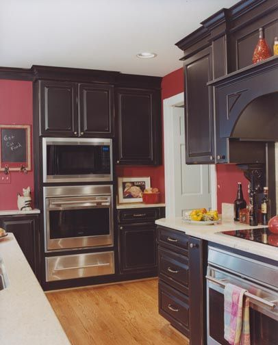 Transitional the carefully chosen colors and textures for Dark red kitchen cabinets
