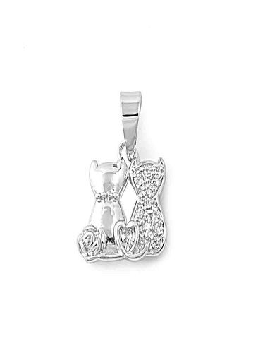Sterling Silver Two Cats Paved with Simulated Diamonds for
