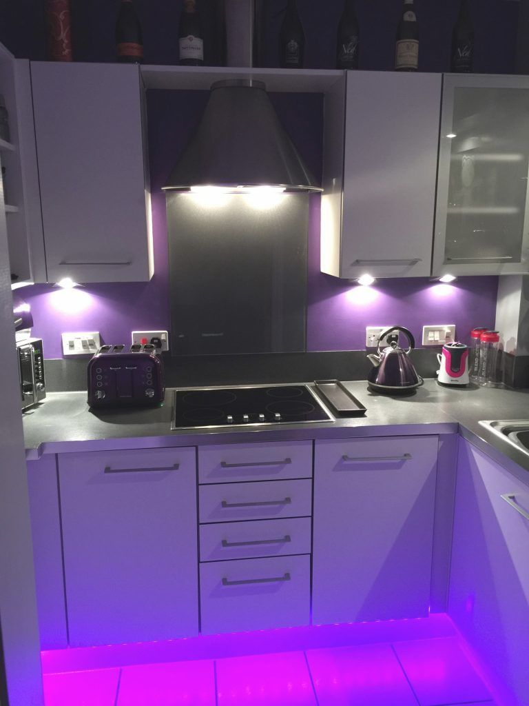 Freshly Decorated Purple Kitchen With Led Strip Lights  Kitchen