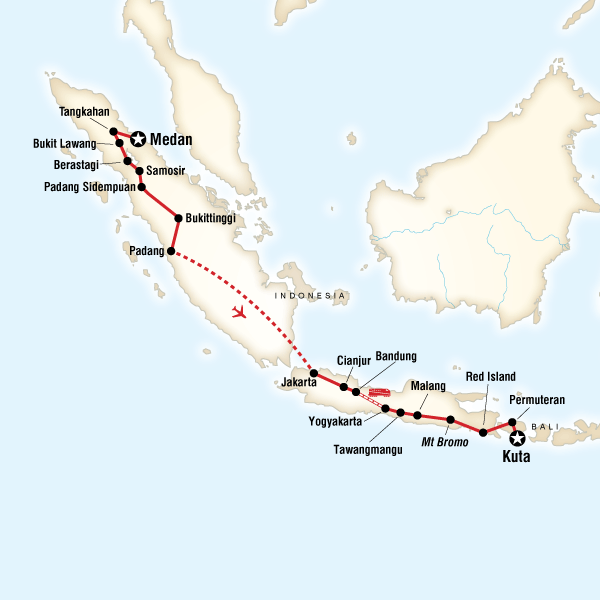 Map of the route for indonesia in depth sumatra java bali map of the route for indonesia in depth sumatra java bali gumiabroncs Gallery