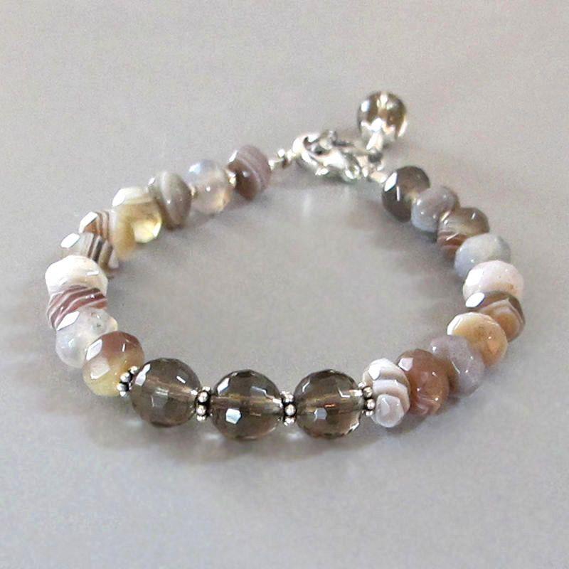 Agate Smoky Quartz Bracelet Sterling Silver DJStrang Gemstone Boho Cottage Chic Earthy Browns Greys by DJStrang on Etsy https://www.etsy.com/uk/listing/251148281/agate-smoky-quartz-bracelet-sterling