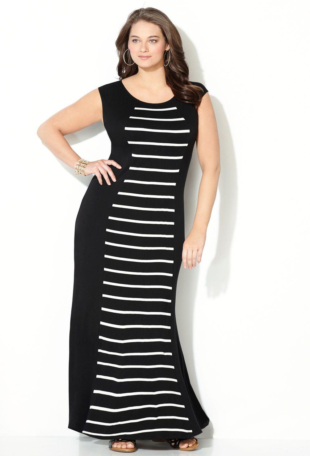 Striped Center Maxi Dress-Plus Size Dress-Avenue | Full on ...