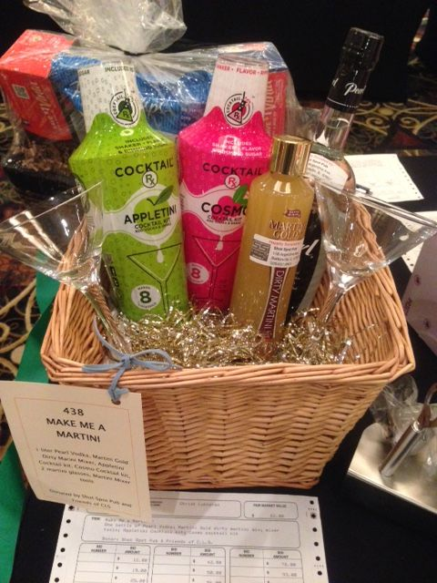 martini themed silent auction basket