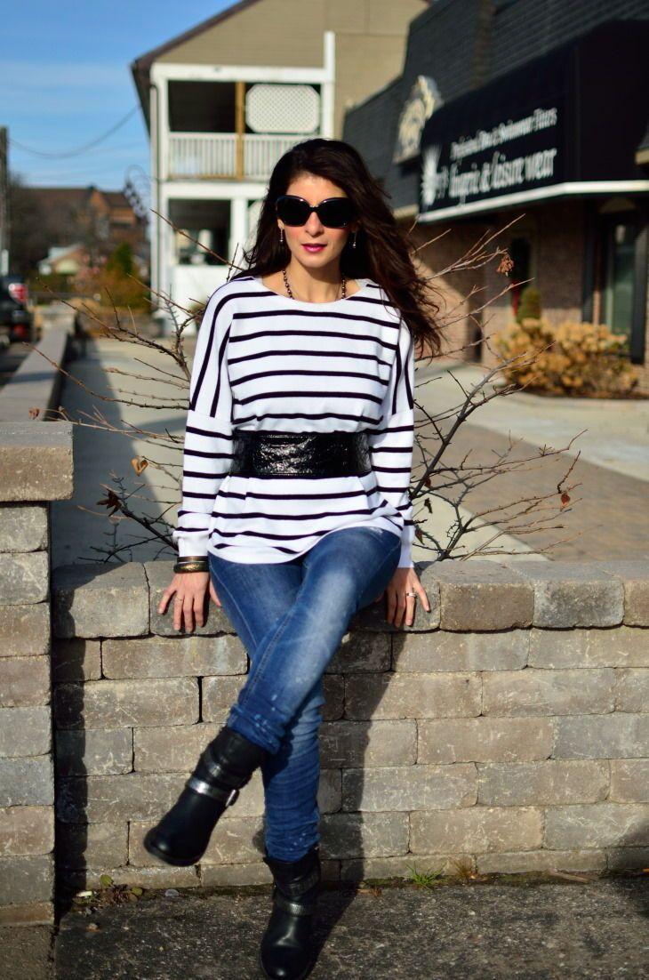 da4846d125 Stripe print is a staple fashion trend - Stripe sweater black and white striped  sweater -