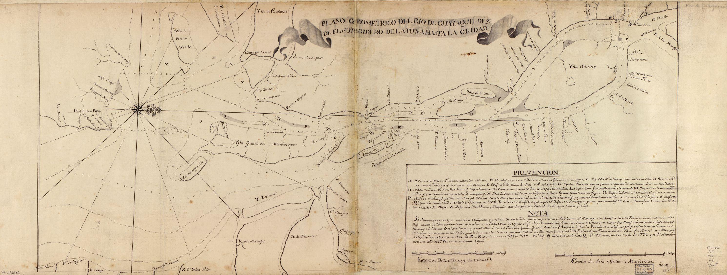 Plano geométrico del Río Guayaquil desde el surgidero de la punta hasta la ciudad
