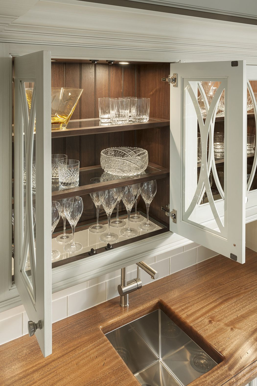 Shelves With Glass Inserts As Shown In Embassy Row By Woodmode Country Kitchen Accessories Farmhouse Kitchen Decor Kitchen Design Trends
