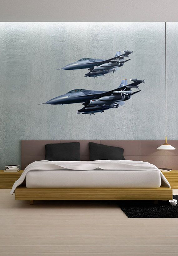 Airborne fighter jets aircraft vinyl wall decal full for Cockpit wall mural