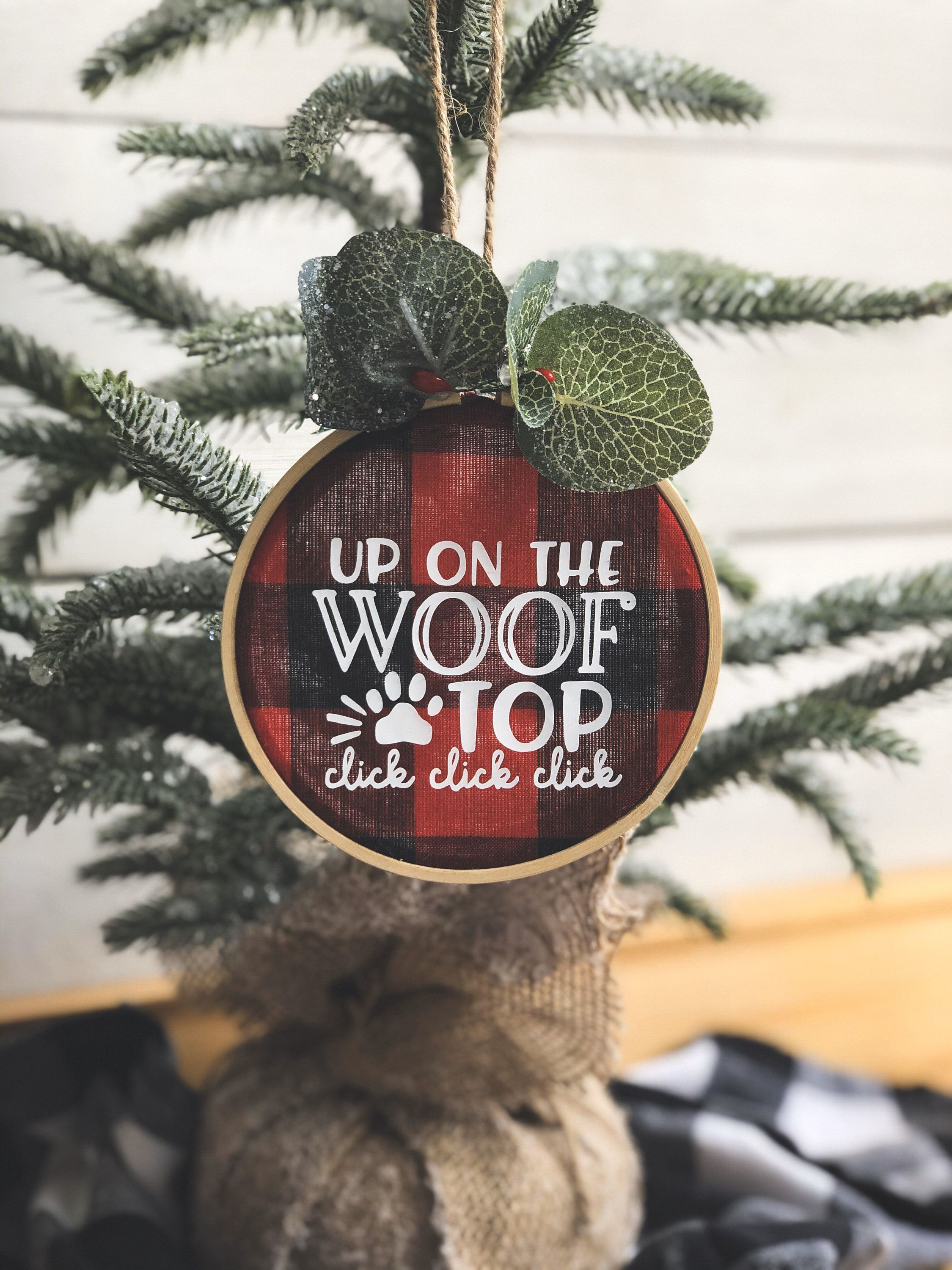 Personalized Embroidery Hoop Christmas Dog Ornament Up on