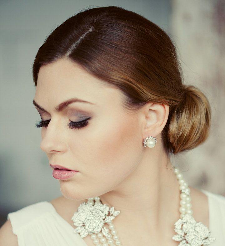 Wedding pearls stud earrings Bridal party Crystal pearls wedding