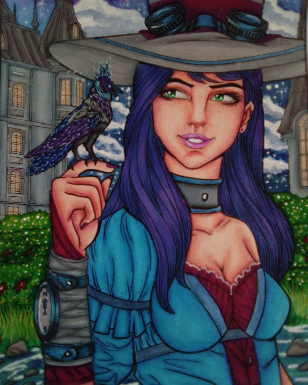 Colourgem On Instagram Steampunk By Jade Summer Prismacolour Gel Pen And Watercolours Jadesummercoloring Colormaniagroup Adultcoloring