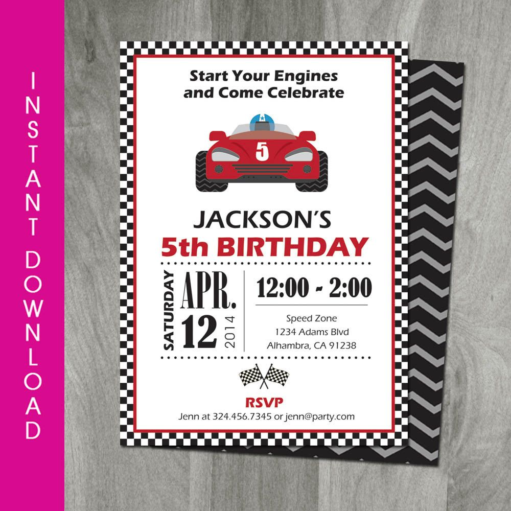 Race Car Party, 5x7 Invitation, Self Editable, Template, Go Kart ...