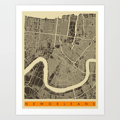 New Orleans Map Art Print by Jazzberry Blue - $19.00