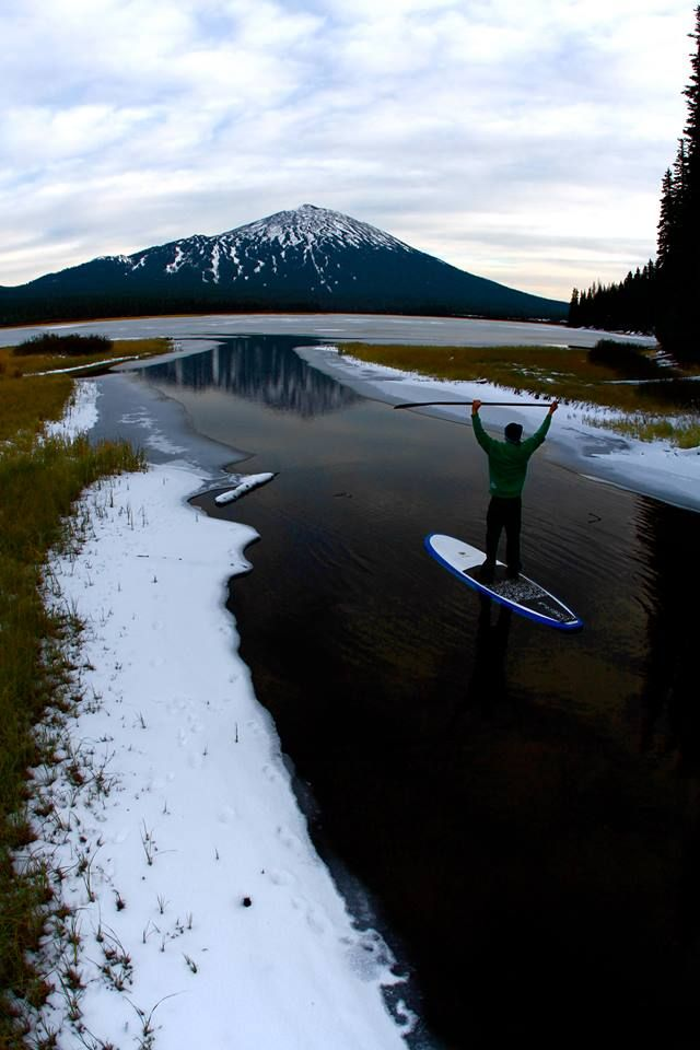 Lest you assume standup paddleboarding is an activity reserved for summer months, think again. Thanks Pete Alport Video/Photo for this reminder it can be fun year 'round. Just don't fall in, okay? Here's a good spot to find info on rentals & paddling locations http://www.visitbend.com/Bend_Oregon_Activities_Recreation/Summer-Fun/Standup-Paddle-Boarding/
