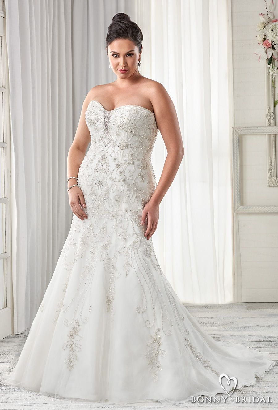 d746ab4b598 bonny bridal 2017 strapless sweetheart neckline heavily embellished bodice  drop waist plus size fit and flare a line wedding dress sweep train (1600)  mv ...