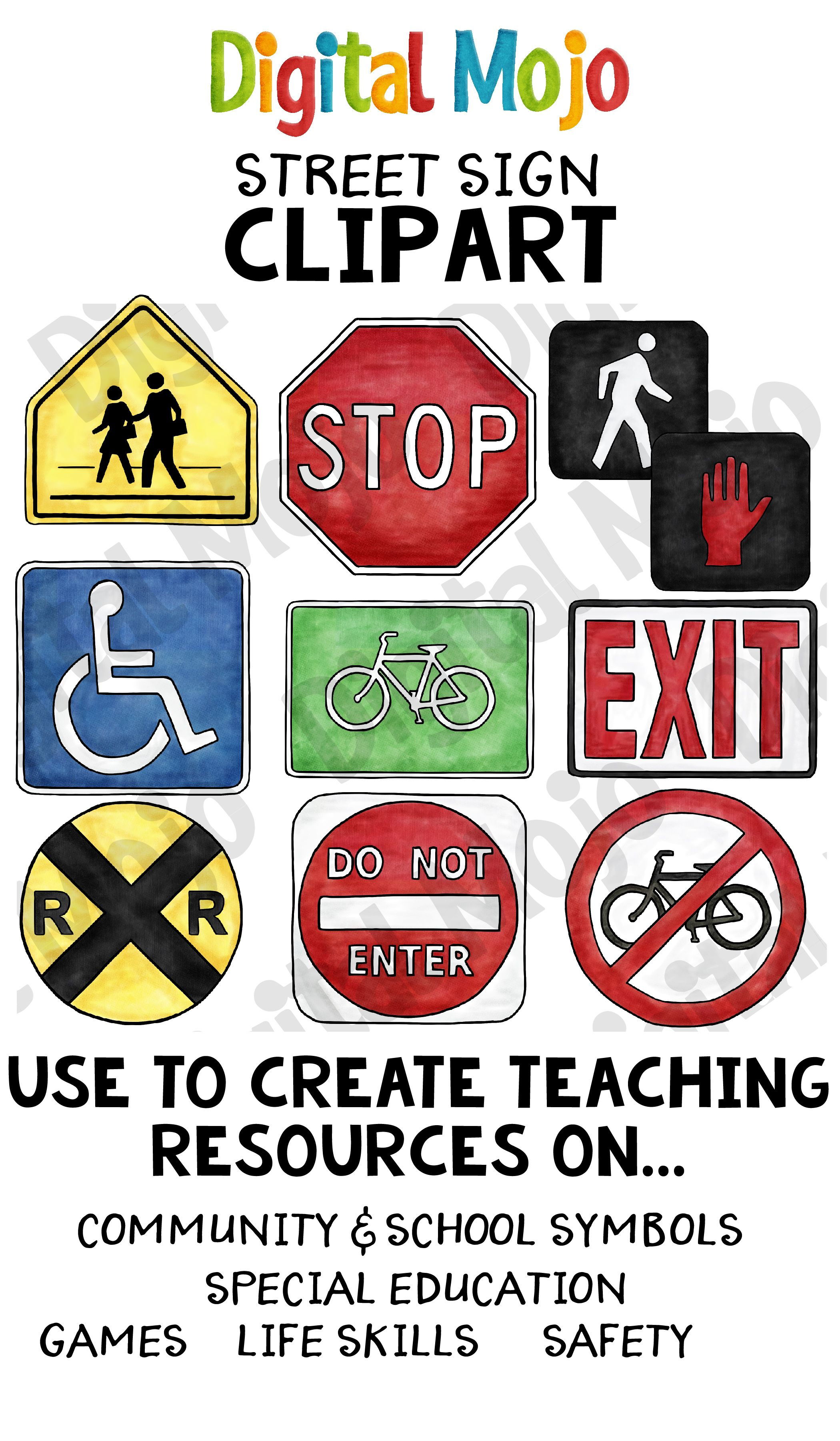 this realistic clip art set is made up of the street signs bike sign crosswalk sign do not enter sign do not walk sign exit sign handicap sign  [ 2100 x 3600 Pixel ]