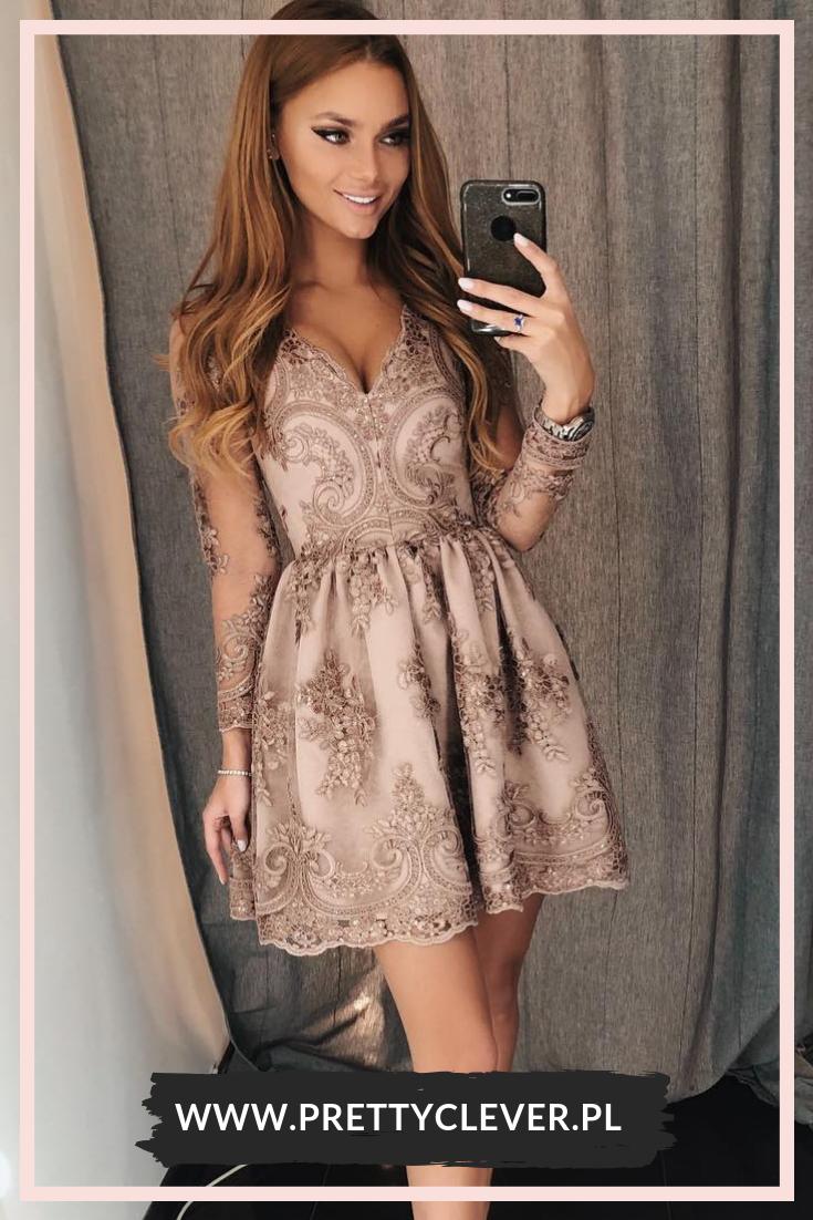 Koronkowa Sukienka Wieczorowa Pretty Clever Lace Homecoming Dresses Dresses Homecoming Dresses