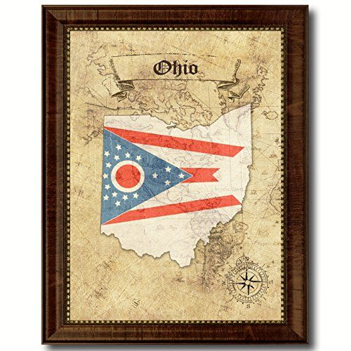 Ohio State Flag State Flag Custom Made Frame Home Décor American Map ...