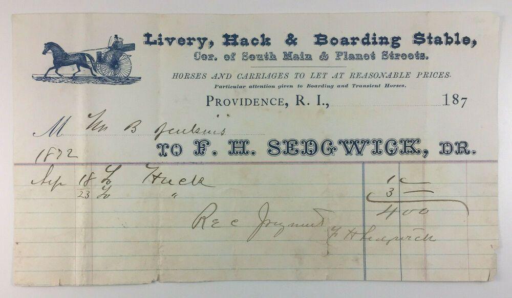 Antique billhead f h sedgwick livery hack boarding stable