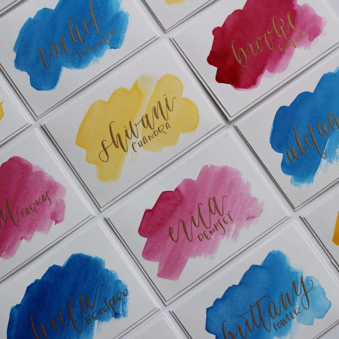 Hand Painted Calligraphy And Watercolor Name Tags Crafts Hand