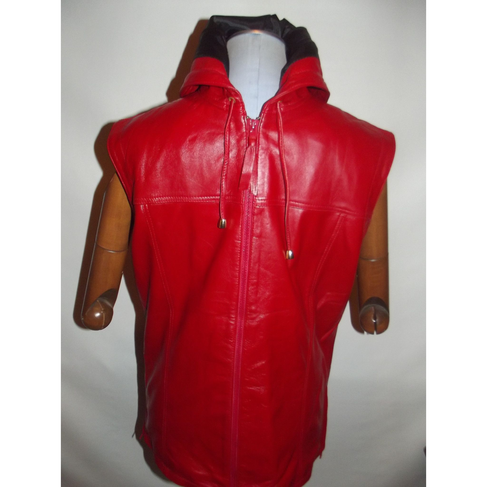 Mens Leather Jacket Red Sleeveless Hooded Hoodie Zip up