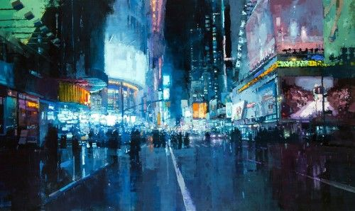 Cool Blurred City Night Painting Wallpaper