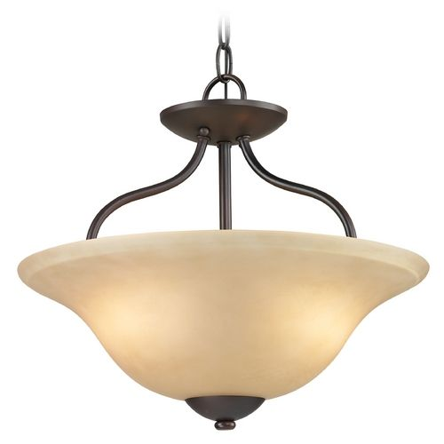 Cornerstone Lighting Conway Oil Rubbed Bronze Pendant Light With Bowl /  Dome Shade | 1202CS/