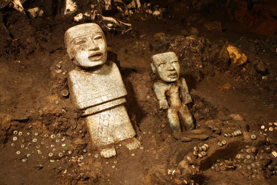 sculptures unearthed by investigators at the Teotihuacan archeological site in Mexico.