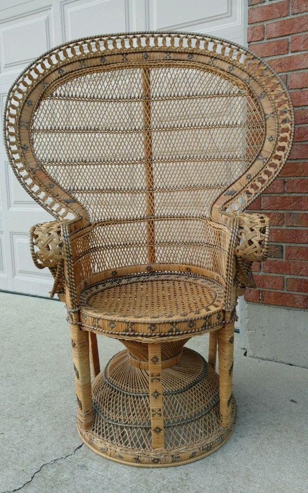 Vintage Wicker High Back Fan Peacock Rattan Chair Home Garden