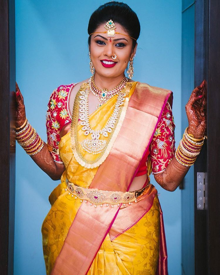 South Indian bride Gold Indian bridal jewelryTemple