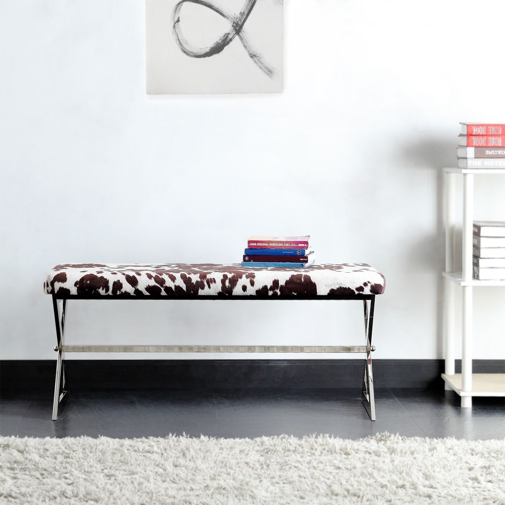 INSPIRE Q Southport Cowhide Print 40-inch Metal Bench - Overstock Shopping  - Great