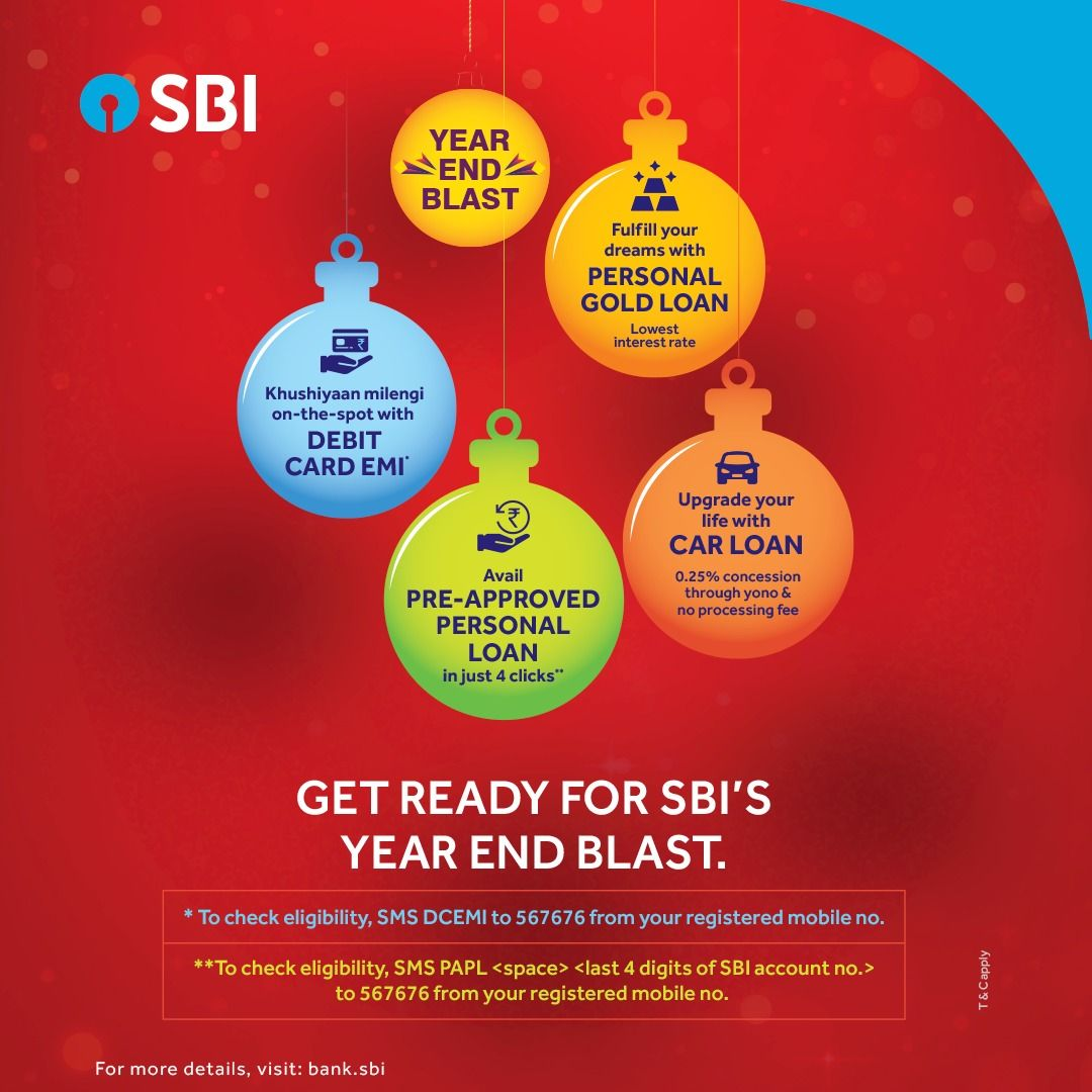 Get Ready To Start Your New Year With Sbi S Year End Blast There Are Exciting Offers To Look Forward To From Car Loans P Car Loans Debit Card Personal Loans