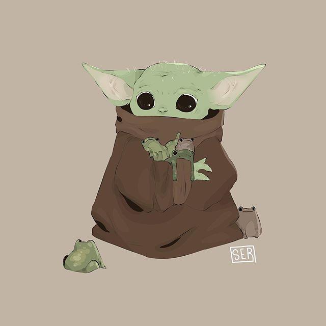 Ser On Instagram Mmm Frogs A Quick Baby Yoda Drawing Bc He S So Cute Mandalorian Babyyoda Artistsoninstagra Yoda Drawing Star Wars Drawings Yoda Art