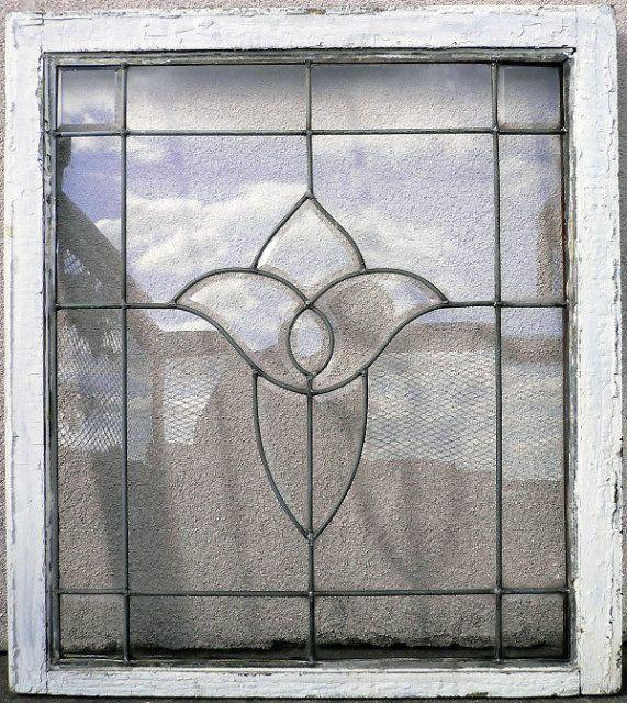 Marvelous Antique Leaded Glass Window with Stylized Iris Flower ...