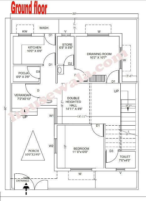 House Plan 30 X 40 Housewala My House Plans House Plans How To Plan
