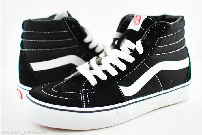 black and white vans high top