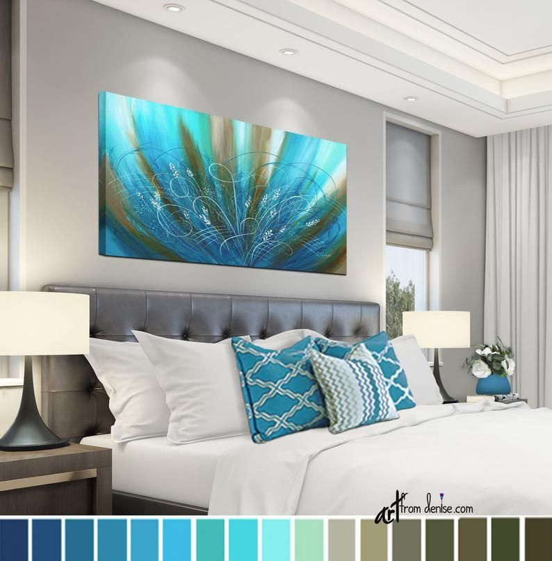 Blue Brown Abstract Floral Canvas Wall Art Long Horizontal Flower Art Work Aqua Turquoise Teal Print Bedroom Picture Above Bed Decor Bedroom Wall Decor Above Bed Bedroom Pictures Above Bed