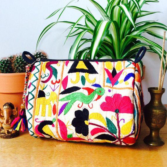 Banjara Kitsch Cosmetic Bag || Gypsy Boho India Vintage Handwoven Tapestry
