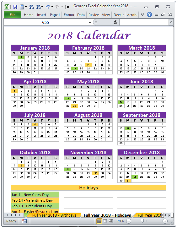yearly calendar 2018 excel