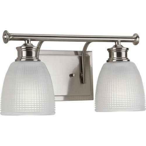 Photo of Progress Lighting Lucky 2 Light Bathroom Lamp – Brushed Nickel P2116-09
