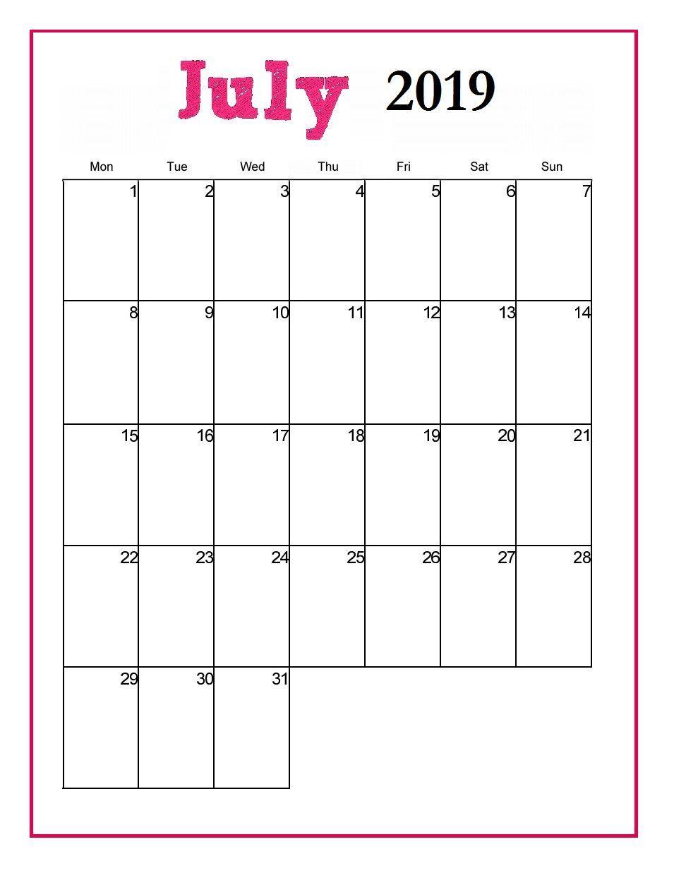 Monthly Printable Calendar July 2019 Printable Calendar July