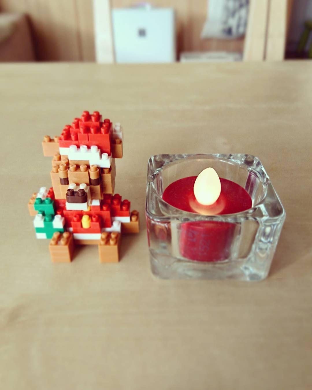 旦那が#ビックカメラ で買ってきてくれた#ナノブロック 。かわい~✨ #クリスマス #クリスマスインテリア #ikea #テディベア #キャンドル#nanoblock