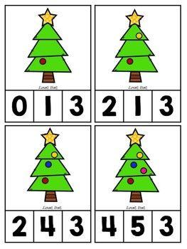 Christmas Tree Counting Clip Cards 1 10 Pinterest Navidad
