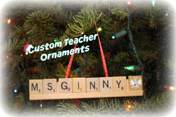 Personalized Teacher Ornaments, Scrabble Ornaments, Christmas Ornaments, Custom Ornaments, Name Ornament, Custom Name Ornaments, Scrabble